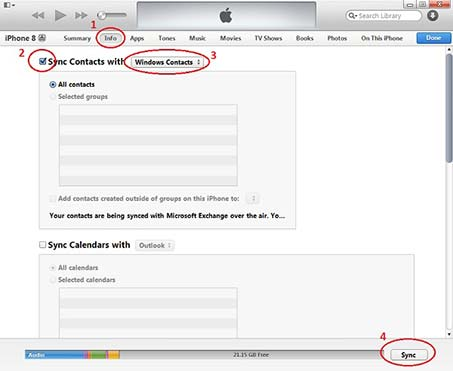 Extract iPhone contacts to csv file via itunes in Bulk SMS Australia
